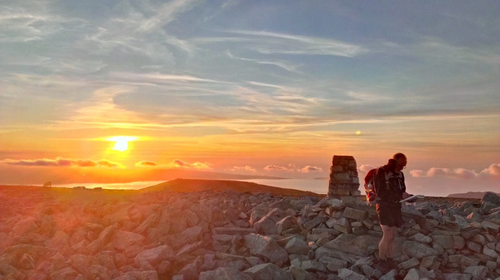Sunset from Foel-Fras - Welsh 3000s completed