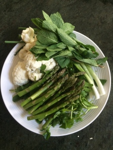 Watercress and asparagus soup