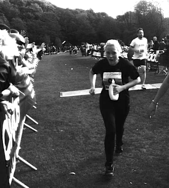 Donna sprinting for the finish line
