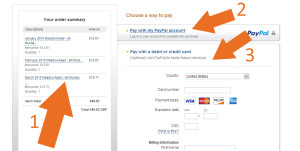 Once at the PayPal website, you will see a summary of your order on the left with the total (1), and on the right, you will have the options to pay using an existing PayPal account (2) or pay just using a credit or credit card (3)