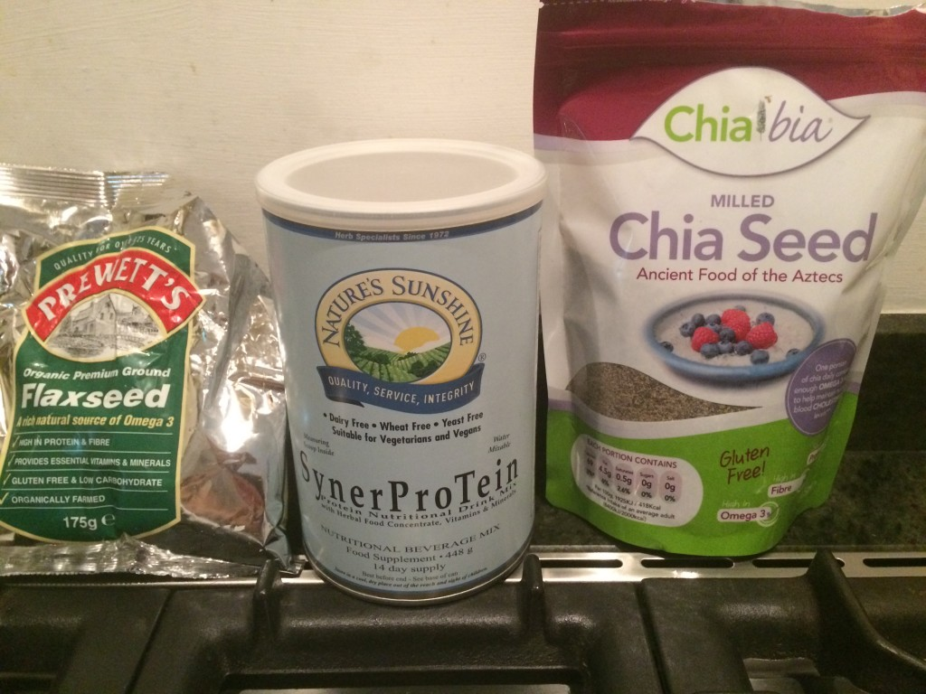 Protein powder,milled flaxseeds and milled chia seeds