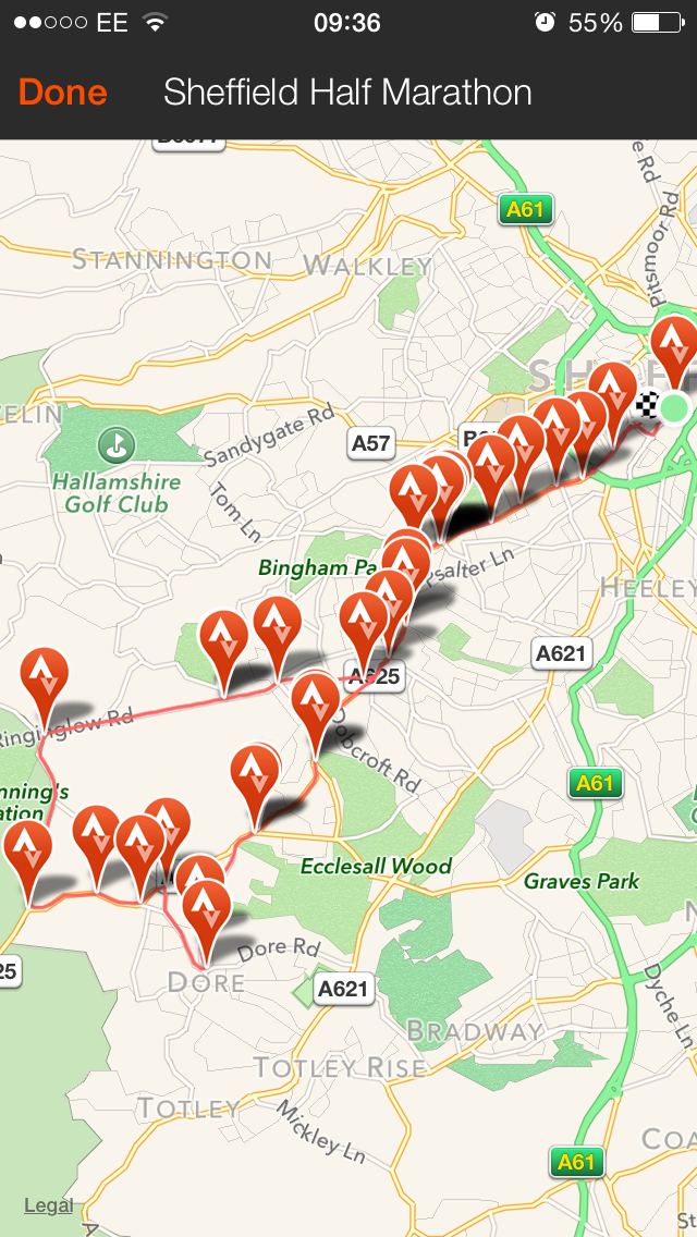 Sheffield Half Marathon Route
