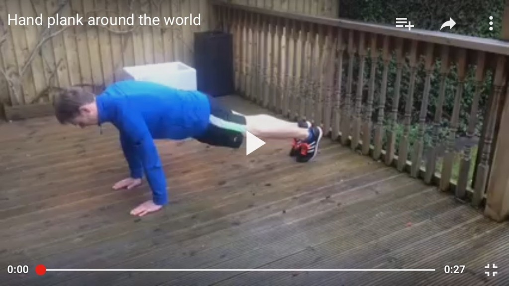 Hand plank around the world
