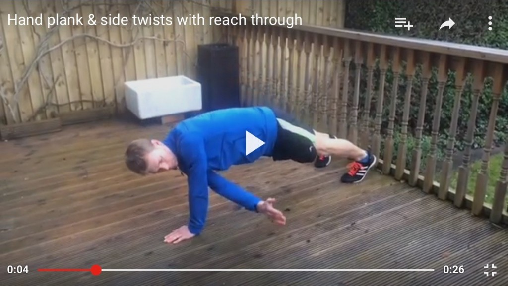 Hand plank side twists & reach through