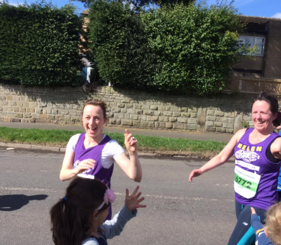 Sarah & Helen looking happy at the jelly baby pit stop